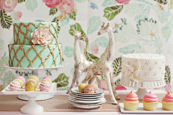 pink mint gold party decorating decor