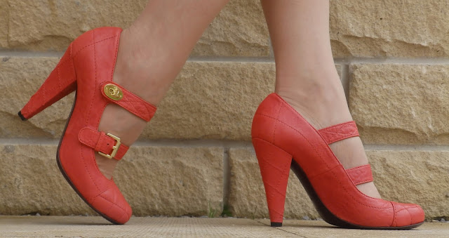 What Lizzy Loves, Mulberry quilted Mary Jane shoes in tomato