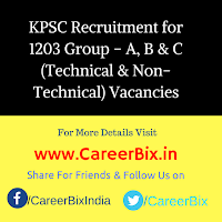 KPSC Recruitment for 1203 Group – A, B & C (Technical & Non-Technical) Vacancies