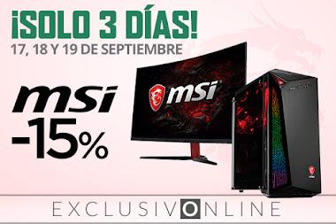 ¡Solo 3 días! -15% en ordenadores y monitores MSI de El Corte Inglés