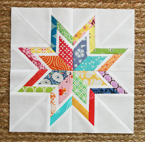 Lone Starburst Block Free Pattern designed by Six White Horses Patterns for Craftsy
