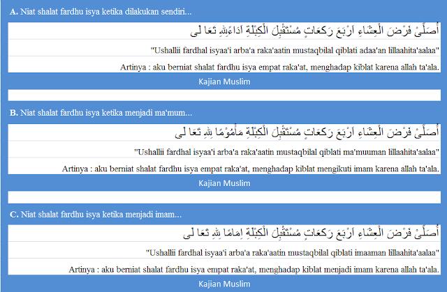 Bacaan Niat Shalat Fardhu Isya Dan Terjemaahannya