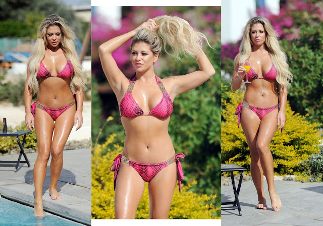 Bianca Gascoigne in Pink Bikini on Vacation in Cyprus
