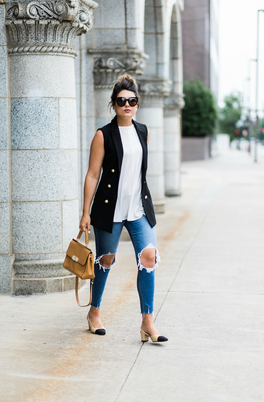 chanel slingback dupes, michael kors ava, sleeveless blazer