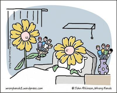 Meme de humor sobre universos paralelos con humanos y flores