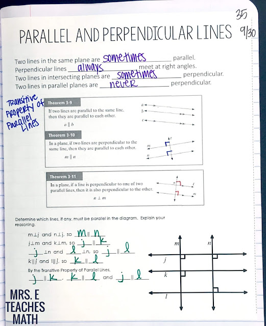 parallel and perpendicular lines theorems for interactive notebooks