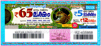 "Kerala Lottery Result; 24-09-2017 ""Pournami Lottery Results"" RN 306"