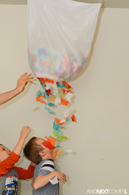 Easy New Year's Eve activity for kids: make a confetti drop