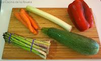 Entrcot con verduras. Receta fácil.