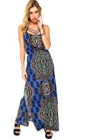 Vestido Holin Stone Longo Bandana Azul