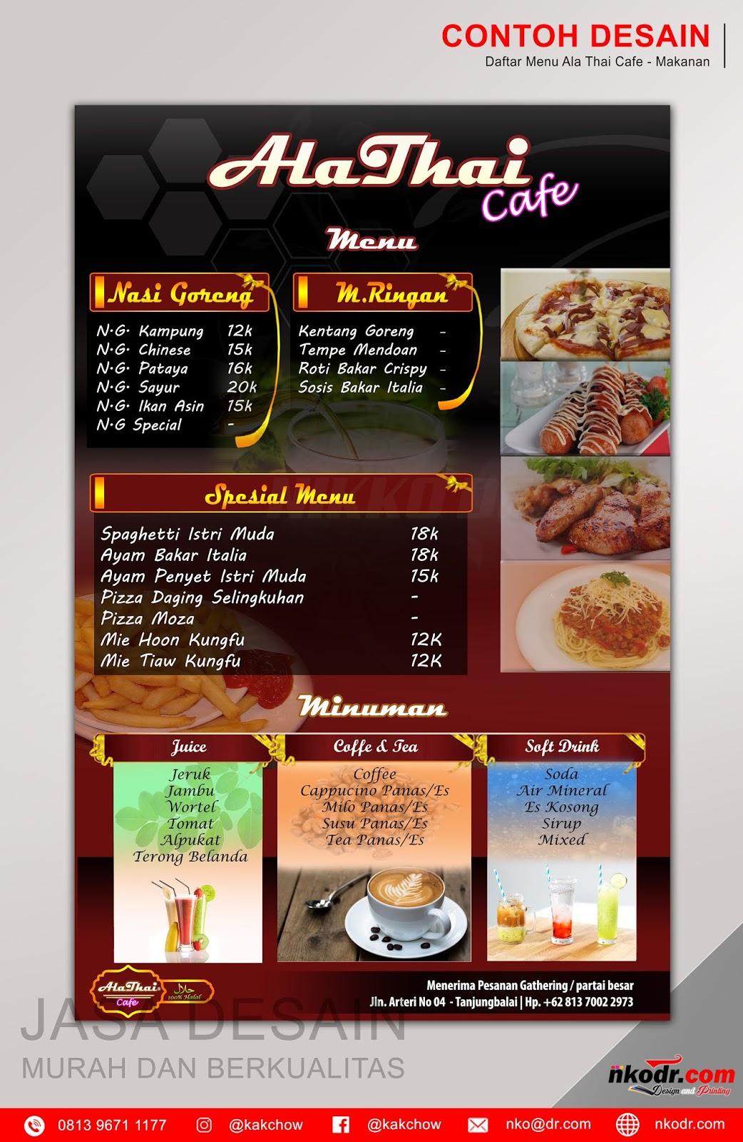 Contoh Spanduk Cafe : contoh, spanduk, Contoh, Desain, Menu/, Daftar, Makanan, AlaThai, Murah, Berkualitas, Percetakan, Tanjungbalai, Online,, Logo,, Banner,, Spanduk