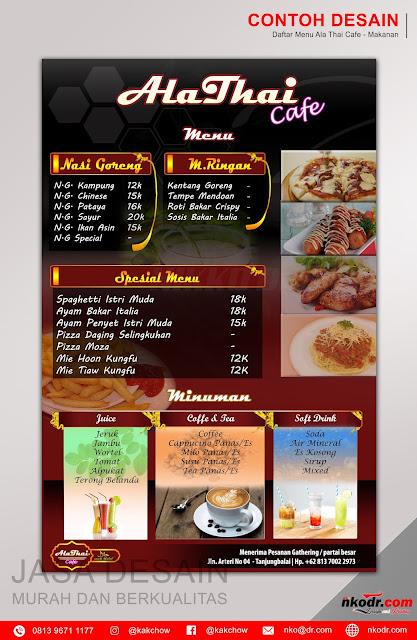 Contoh Desain List Menu / Buku Menu/ Daftar Menu Makanan AlaThai Cafe 2| Desain Buku Menu Murah Berkualitas