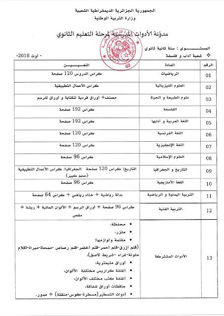 قائمة الادوات المدرسية للسنة الثانية ثانوي شعبة اداب وفلسفة