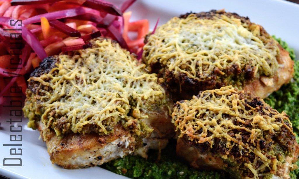 Herb-Walnut Encrusted Wild Alaskan Ling Cod with Kale Pesto