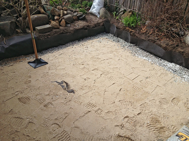 Reclaimed slate backyard patio Artist and Builder proper foundation layers