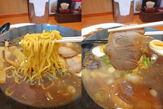 鶏豚醤油ラーメンの麺とチャーシューの写真