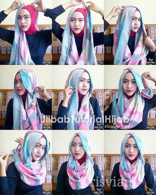 tutorial hijab segi empat terbaru pesta glamour modern 2016
