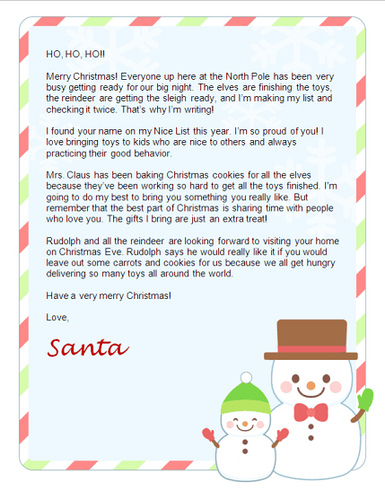 Lucrative image within free printable letter from santa