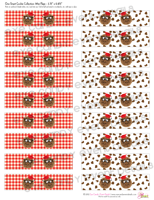 chocolate chip pattern red gingham, drink flags for cookie party, cookie