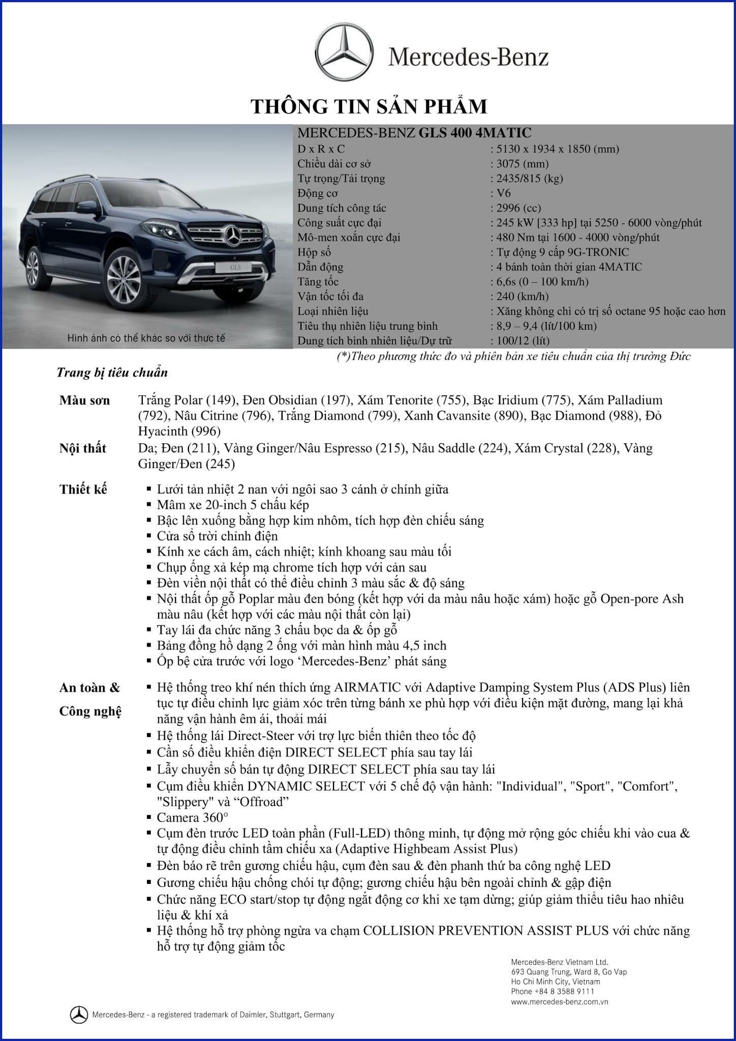 Bảng thông số kỹ thuật Mercedes GLS 400 4MATIC 2017 tại Mercedes Trường Chinh