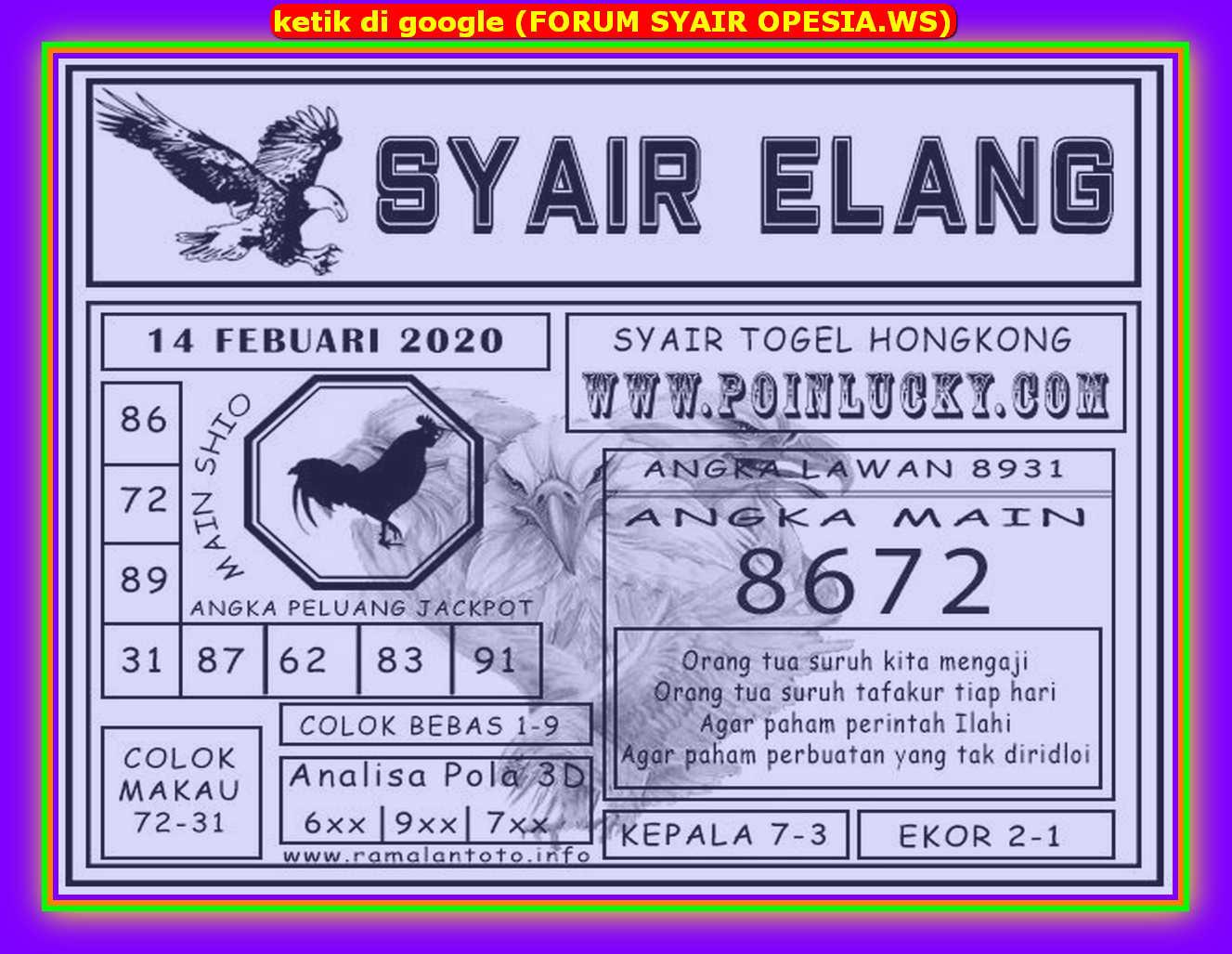 Kode syair Hongkong Jumat 14 Februari 2020 96