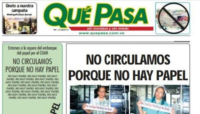 """Diario zuliano Qué Pasa deja de circular al negarle papel el Gobierno nacional"""""""