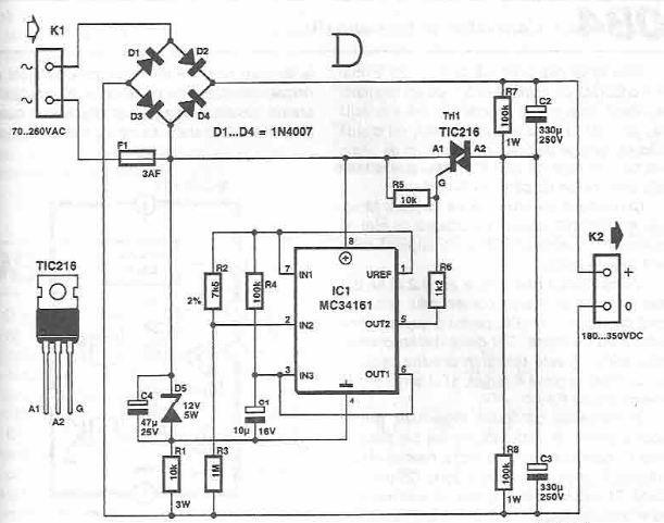 Wiring Diagram 110v Transformer : Vac to vdc voltage converter electronic circuit