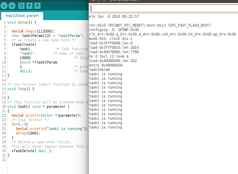 Arduino ESP32 FreeRTOS 2: How to use Task Parameter - Task