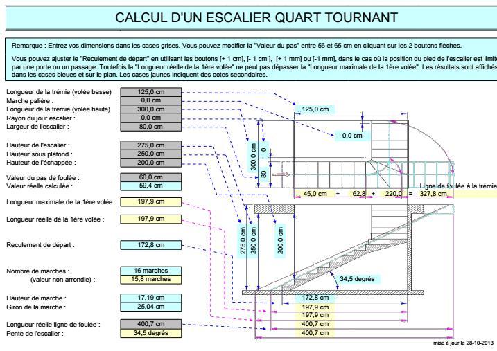 Connu CALCUL D'UN ESCALIER QUART TOURNANT en feuille excel | Outils  JJ91