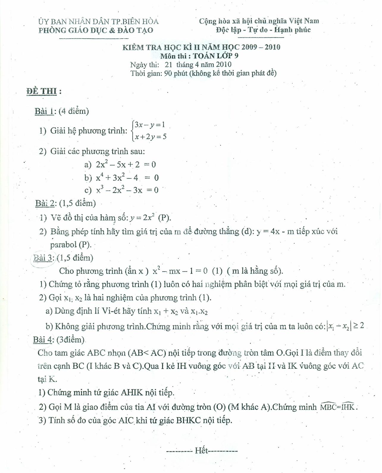 Đề thi học kỳ 2 môn toán lớp 9 tỉnh Đồng Nai năm 2010