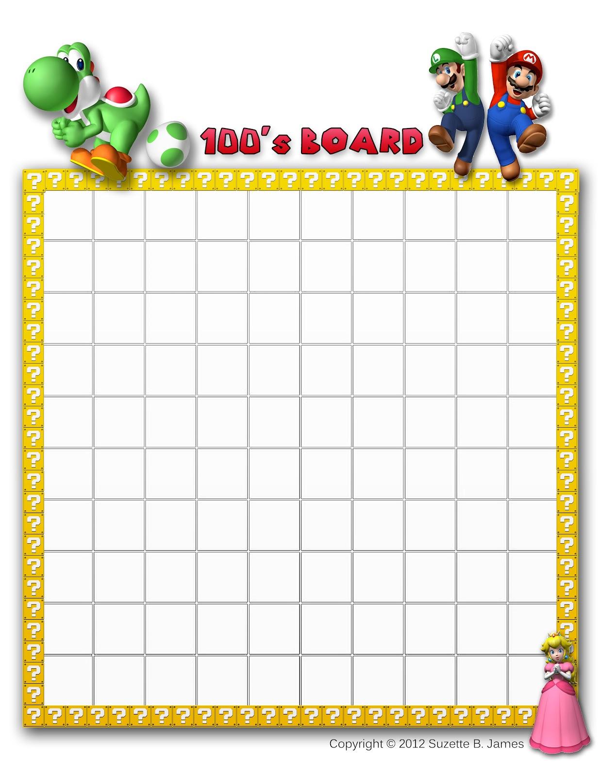 Him Mario Bros Amp Friends Hundreds Board Printabes