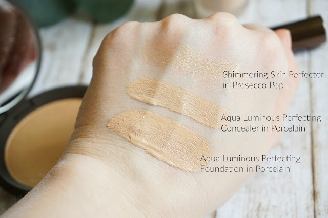 Becca, Shimmering Skin Perfector Pressed in Prosecco Pop, Aqua Luminous Perfecting Foundation in Porcelain, Aqua Luminous Perfecting Concealer in Porcelain