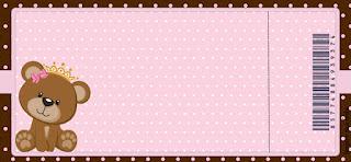 Tarjeta con forma de Ticket de Osita Princesa.