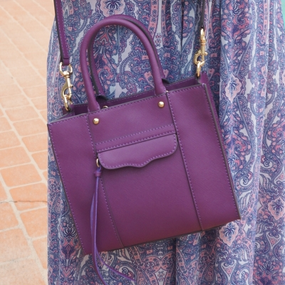 Away From Blue | Rebecca Minkoff purple mini MAB tote plum with blue pink printed maxi dress