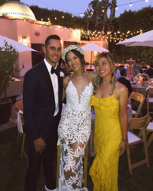 Michelle Wie at her wedding with husband Jonnie West