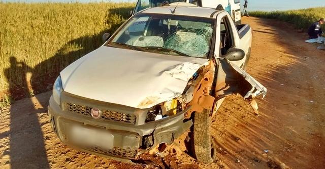 Roncador: Motoqueiro fica ferido ao bater em Fiat/Strada