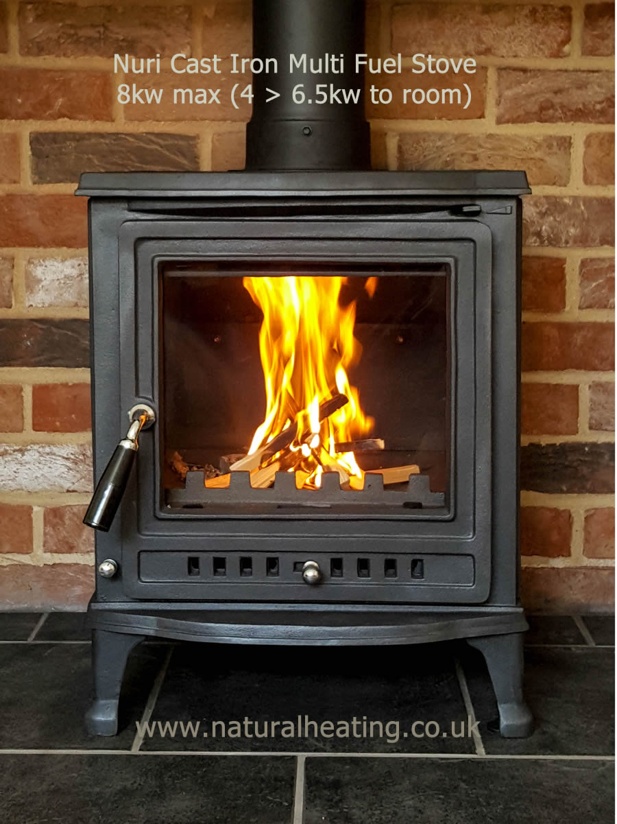 nuri cast iron multi fuel and wood burning stove 8kw max 4
