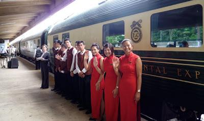Onboard the luxury train Eastern & Oriental Express run by Belmond, from Bangkok to Singapore