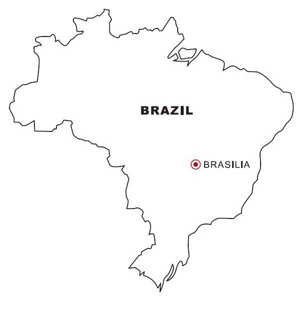 Mapa Y Bandera De Brasil Para Dibujar Pintar Colorear