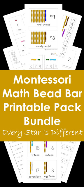 Montessori Math Bead Bar Printable Pack Bundle in Action