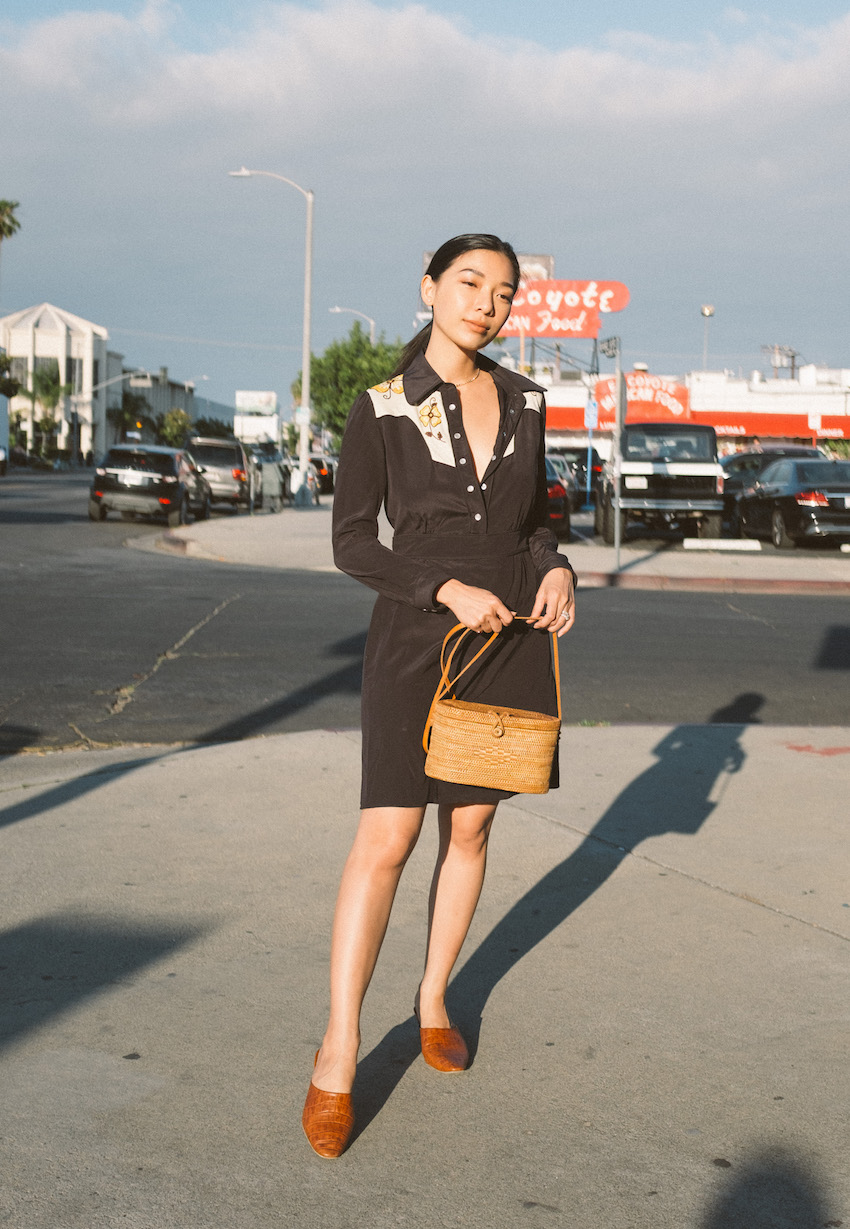 Honey & Silk wearing Coach Western Dress, Bembien Bag, and By Far Sienna Mules