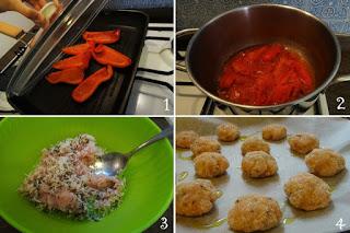 foto preparazione Ricetta crocchette di pollo al rosmarino con crema di peperoni per bambini