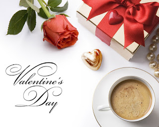 Valentines day HD stock image with coffee and red rose