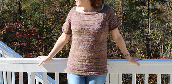 Front View of Top Knit from Handspun Yarn