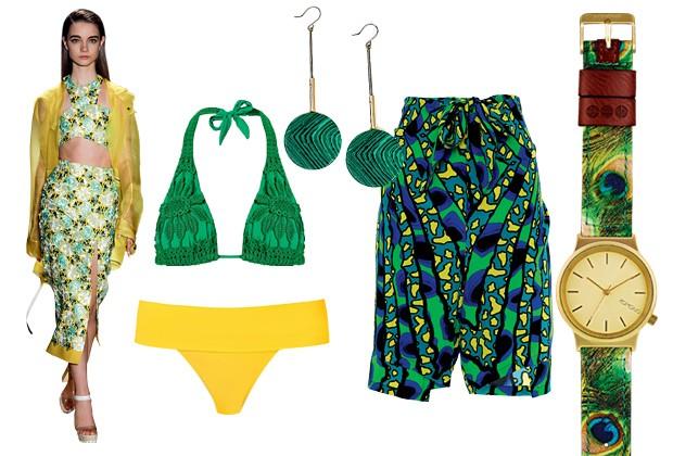 Moda verde e amarelo para as produções de alto verão