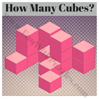Spatial puzzle to count number of cubes in given figure