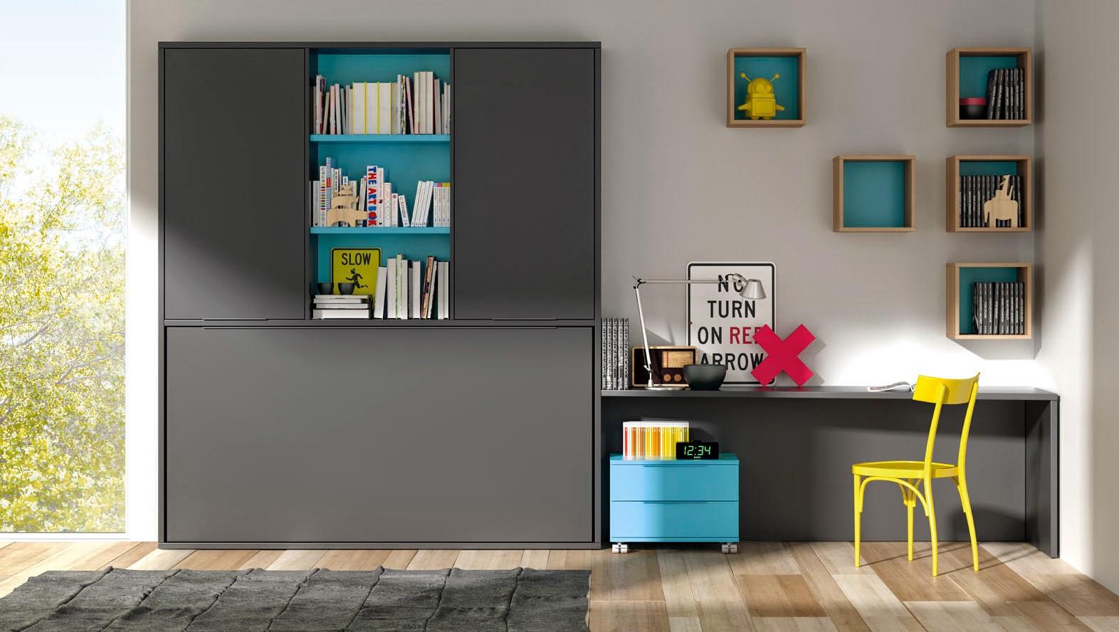 Camas abatibles horizontales con escritorio incorporado - Camas abatibles madrid ...