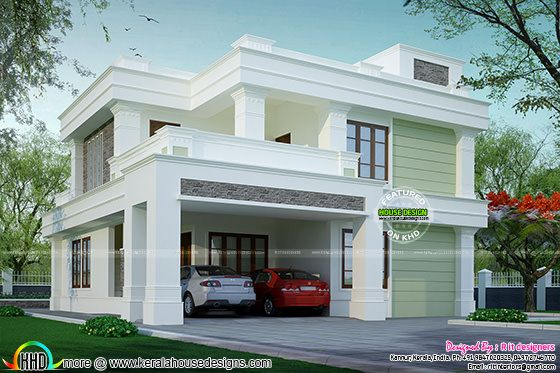 Flat roof decorative house