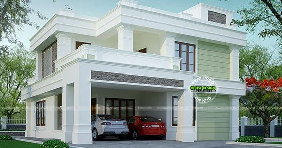 Flat roof decorative house home design simple for Minimalist house flat roof