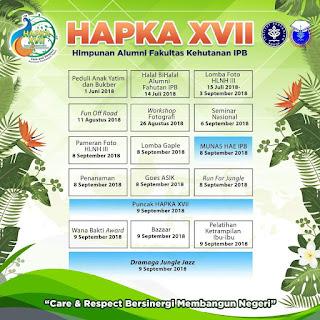 """HAPKA XVII : Hari Pulang Kampus Himpunan Alumni Fakultas Kehutanan IPB  """"Care & Respect Bersinergi Membangun Negeri"""""""